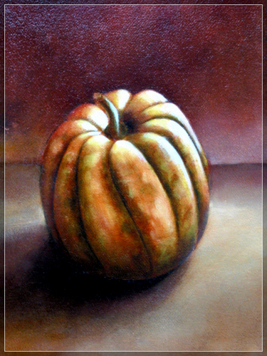 "Still Life with a Squash - Oil on Canvas - size: 8""x10"""